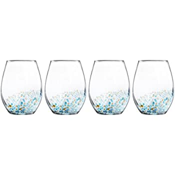 e305c25a363 Trinkware Callie Set of 4 Stemless Goblets - Crystal Clear Glass With  Beautiful Gold And Blue Speckle - Elegant Glassware And Stemware