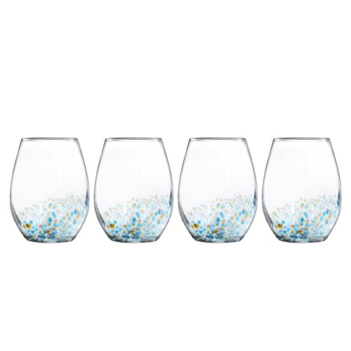 Trinkware Callie Set of 4 Stemless Goblets - Crystal Clear Glass With Beautiful Gold And Blue Speckle - Elegant Glassware And Stemware ()