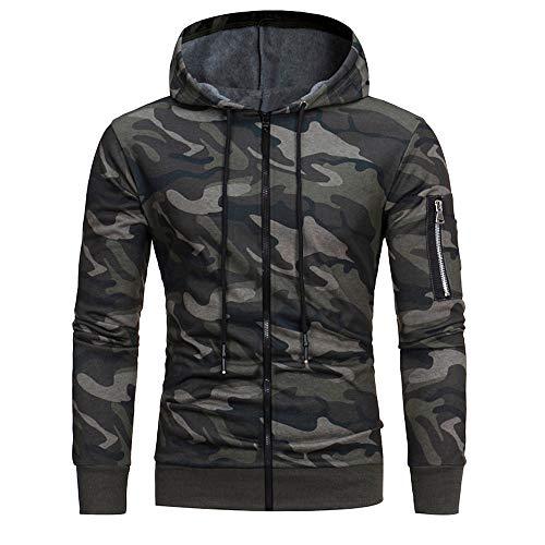Camouflage Hoodie Duseedik Mens' Long Sleeve Zipper Sweatshirt Tops Jacket Coat Hooded Outwear