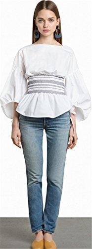 Top Froisse Zipp Ruch Basque Fronc Blouse Shirt Dos Manches 3 4 Blanc Chemise Sexy Chemisier Ceinture Ballon Haut Manches qR1A44x