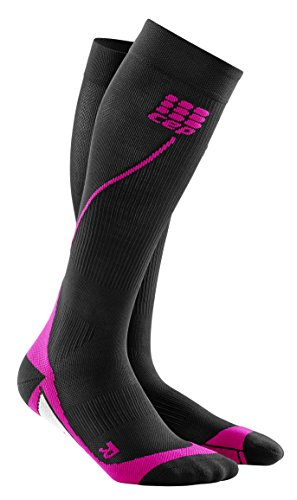 Womens Running Compression Socks - CEP Long 2.0 (Black/Pink) III by CEP (Image #1)