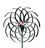 Sunray's Verdigris Wind Spinner with Solar Light / Windmill