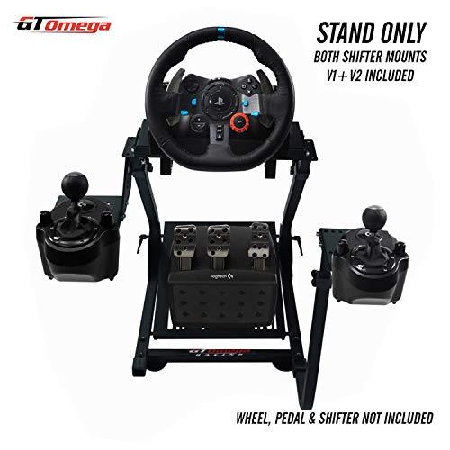 GT Omega Volante soporte para Logitech G29 G920 con montura de cambio de velocidades v1 y v2 Thrustmaster T500 T300 TX y TH8A - PS4 Xbox Fanatec Clubsport - Plegable y inclinacion Diseno Ajustable