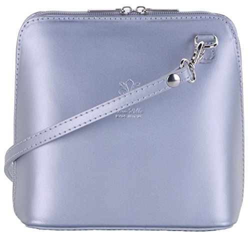- Primo Sacchi Italian Leather, Silver Grey Small/Micro Cross Body Bag or Shoulder Bag Handbag. Includes Branded a Protective Storage Bag.