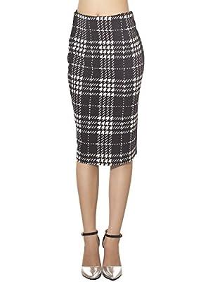 iB-iP Women's Checkered Plaid Houndstooth Slim Body Con Mid Waist Pencil Skirt