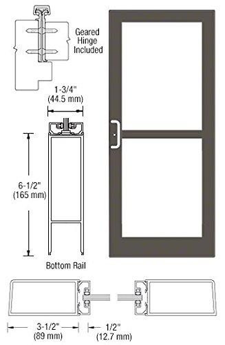CRL-U.S. Aluminum Bronze Anodized Custom Single Series 400 Medium Stile Offset Hung Geared Hinge Entrance Door With Panic for Surface Mount Door Closer