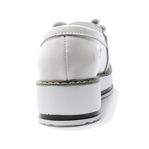 Moonwalker Confort Femme Compensée Semelle Brilliant Mocassins Cuir En Blanc rrqBPp6wx