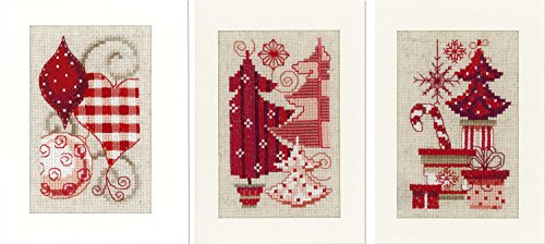 Vervaco Christmas Motif Cards Cross Stitch Kit, Set of 3, Mu