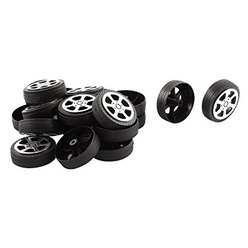 Plastic Roll 2mm Dia Shaft Car Truck Model Toys Wheel 30mmx9mm 20Pcs (Toy Car Plastic Model)