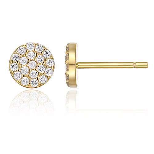PAVOI 14K Yellow Gold Plated Sterling Silver Stud Earrings for Women | Pave CZ Mini Disc | Yellow Gold Earrings for Women