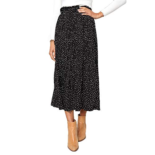 Exlura Womens High Waist Polka Dot Pleated Skirt Midi Swing Skirt with Pockets Black