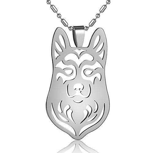 Stainless Steel Siberian Husky Alaskan Malamute Mal Mally Pet Dog Collar Tag Charm Pendant