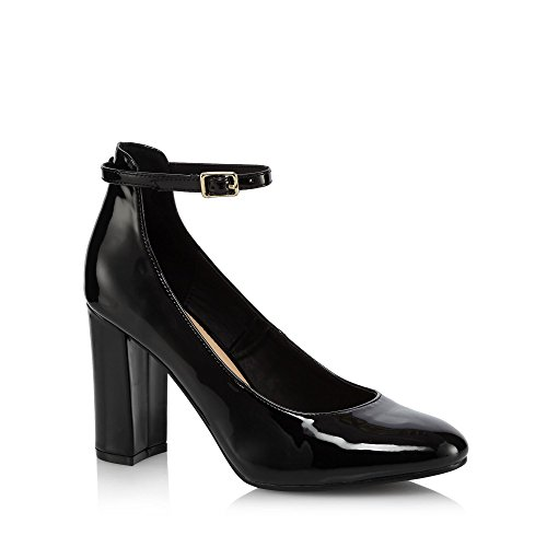 Debenhams The Collection Womens Black Patent 'Catyah' High Block Heel Court Shoes QEMcqOW