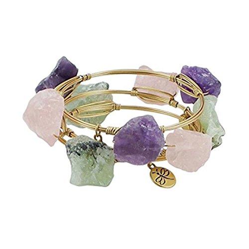 Crystal Bangle Natural Stones Purple