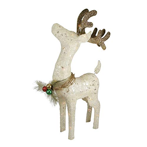 (Northlight Lighted Sparkling Sisal Standing Reindeer Christmas Yard Art Decoration 37