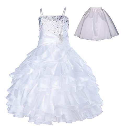 ekidsbridal Elegant Stunning Rhinestone Organza Pleated Ruffled Flower Girl Dress Free Petticoat 164s 10 White