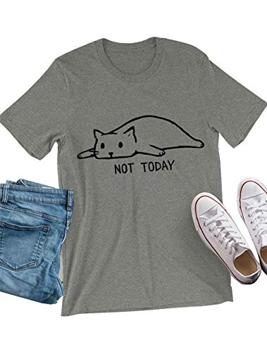Plus Size Cute Cat Not Today Short Sleeve Tops for Girls Grey -