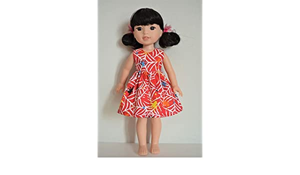 Handmade Doll Clothes Dress fit 14.5 American Girl Wellie Wishers and H4H Dolls Handcraft F