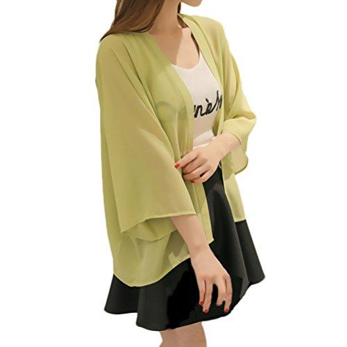 Top Verde Manica Chic Cute Casual Blusa Lunga Estate Sciolto Sottile Cardigan Tinta Traspirante Chiffon Moda Elegante Unita Donna qZgU8