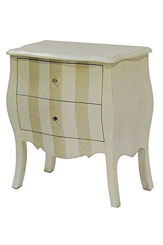 Heather Ann Creations Bombay Series Premium Wood 2 Drawer Bombay Shaped Storage Cabinet, Beige/Cream Stripe (2 Drawer Bombe Chest)