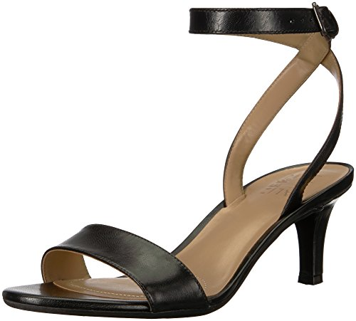 Naturalizer Women's TINDA Heeled Sandal, Black Leather, 7.5 M US
