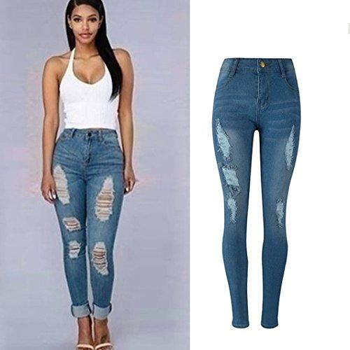 (Hemlock Pencil Denim Jeans, Women Flexible Skinny Trousers Ripped Pants (XL, Light Blue))