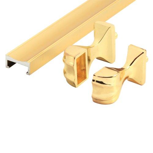 (Prime-Line Products M 6094 Shower Door Towel Bar and Bracket Set, Brass)