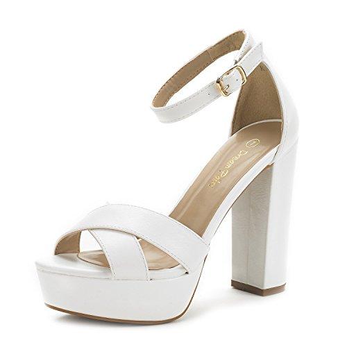 DREAM PAIRS Women's Hi-Go White Pu High Heel Platform Pump Sandals - 10 M US