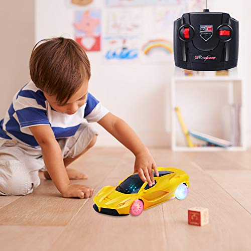 AiTuiTui Remote Control Car Kids, 1/18 RC Light Up Hobby Toy Car with 5 Flashing LED Lights and Controller Vehicle for Boys Girls 3,4,5,6 Years Old, Yellow