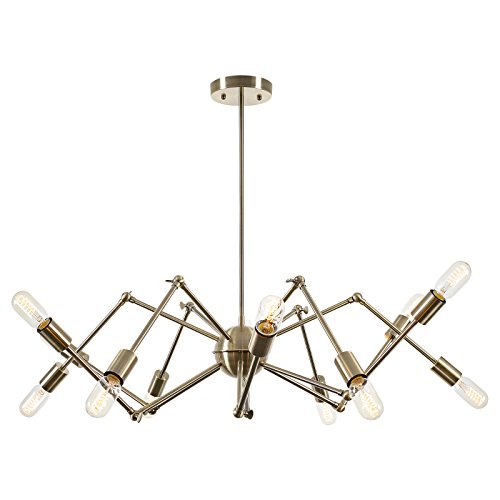 Light Society Arachnid 12-Light Chandelier Brushed Bronze Brass Pendant Light, Mid Century Modern Industrial Starburst Style Lighting Fixture (LS-C111-BRS)