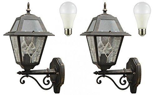 Set di vintage style luce per esterni up nero oro inkl