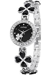 KIMIO K456L Ladies Quartz Bracelet Wristwatch Lucky Grass Flower Diamond Wrist Watch Daily Stainless Steel Black