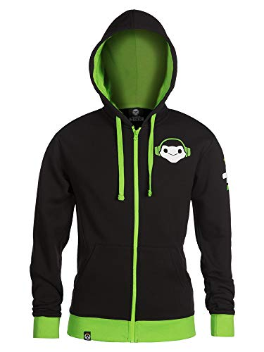 JINX Overwatch Ultimate Lucio Zip-Up Hoodie, Black, Small