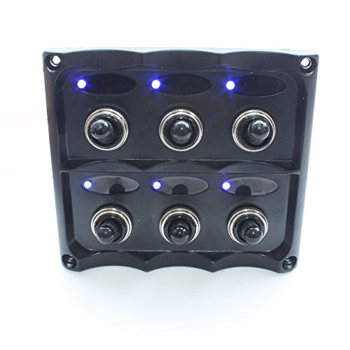 X-Haibei Splashproof Blue LED ON-OFF Toggle Switch Panel Marine Boat 6 Gang & 15A (6 Gang Fuse)