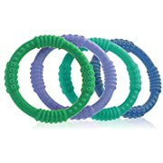 Teether Rings - (4 Pack) Silicone Sensory Teething Rings - Fun, Colorful and BPA-Free Teething Toys - Soothing Pain Relief and Drool Proof Teether Ring (Blues/Greens)