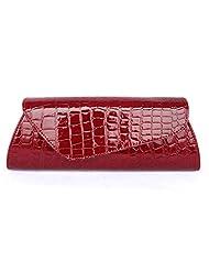 Abless Women PU Leather Lozenge Fashion Clutch Purse Handbag - Burgundy