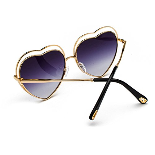 de de women eyewear Violeta Heart metal Men Lens Gradient Sunglasses Oro Colored marco Yefree de Templos Marco w6xqUa55AI