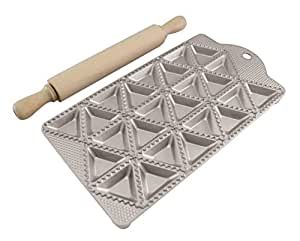 Paderno World Cuisine A4982234 24 Piece Ravioli Maker with Rolling Pin, Gray