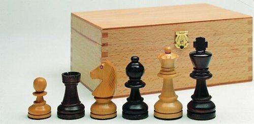 Schachfiguren aus Buchsbaum, braun + natur, Königshöhe 108 mm