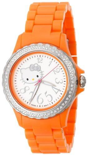 Hello Kitty Women's QWL1632DIANFSVOR Kimora Lee Simmons Diamond Bezel Orange Ceramic Watch
