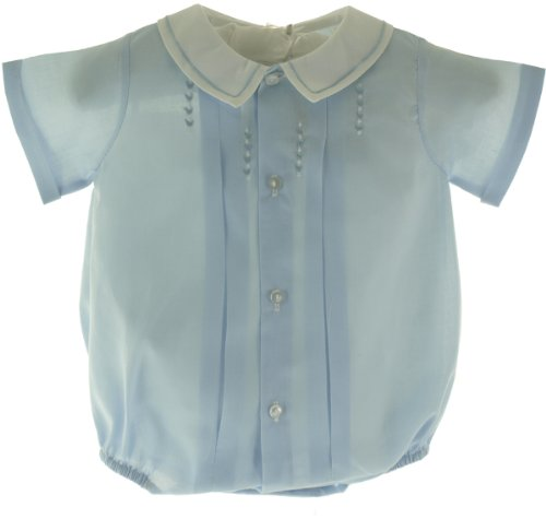 ant Baby Boys Blue Embroidered Bubble Outfit White Collar-Newborn ()