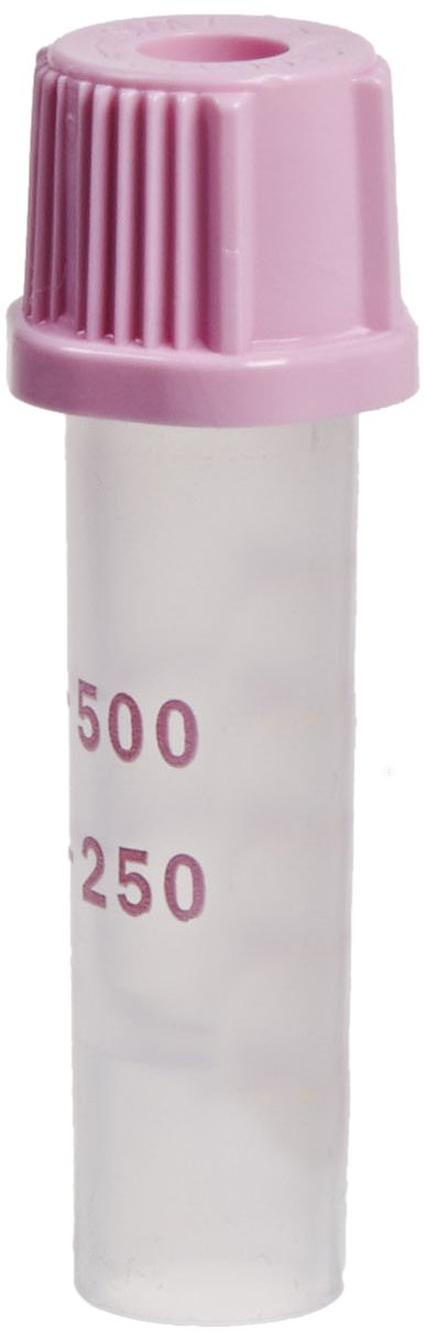 BD 365974 Plastic Capillary Blood Collection Microtainer Tube with Dipotassium EDTA Beadless Additive Lavender Microgard Closure, 250-500 microliter Capacity, 8mm ID (Case of 200)