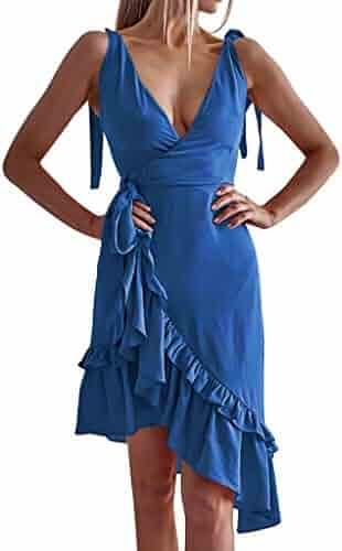 bdc9fc1f028f Women Ruffle Wrap Dress - Asymmetric Summer Sundress Sleeveless V Neck  Holiday Dress,Women Dress