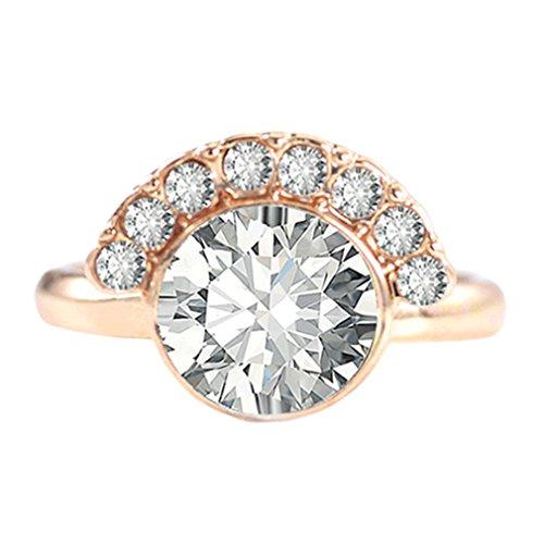 SOURBAN Geometric Sector Ring Gemstone Promise Ring for Women Weddimg Finger Ring Jewelry,Gold