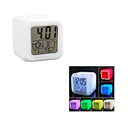 Zinnor (FBA Available) Digital Alarm Thermometer Night Glowing Cube 7 Colors Clock LED Change LCD