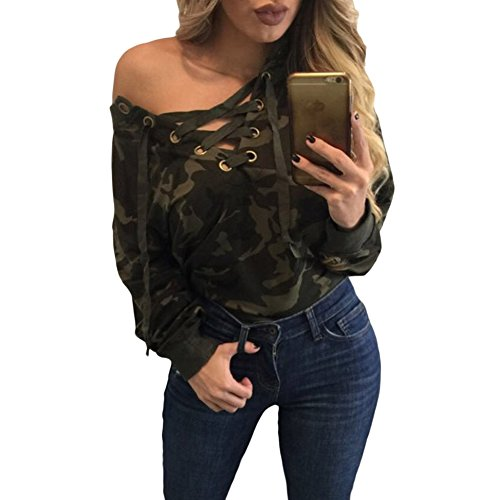 [Elakaka Lace Up V-neck Camouflage Long Sleeve Top(Size,L)] (Witch Coustumes)
