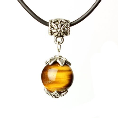 Tirio Wishing Bead Necklace Golden Tiger Eye with Silver Pendant Grounding Stone Protection - Red Tiger Eye Necklace