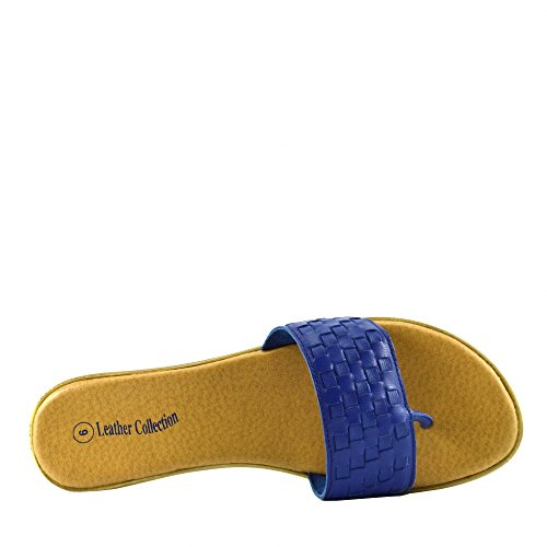 Leather Shoes Summer Womens F931 Beach Natural Flops Fashion Flip Sandals Kick Blue Footwear BOvRzwq