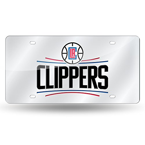 Rico Industries NBA Los Angeles Clippers Laser Inlaid Metal License Plate Tag, Silver