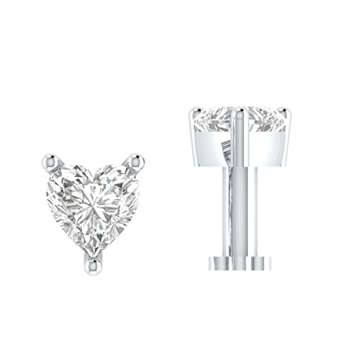 Heart Shaped D/VVS1 Simulated diamond 925 Sterling Silver Stud Screw & Twist Wire nose pin